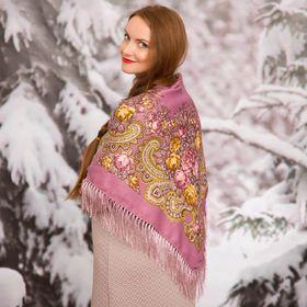 """Платок многоцветный с бахромой Этель """"Новогодние забавы"""", размер 92х92 см, цвет лиловый"""