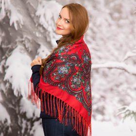 """Платок многоцветный с бахромой Этель """"Новогодние забавы"""", размер 92х92 см, цвет пурпурный"""