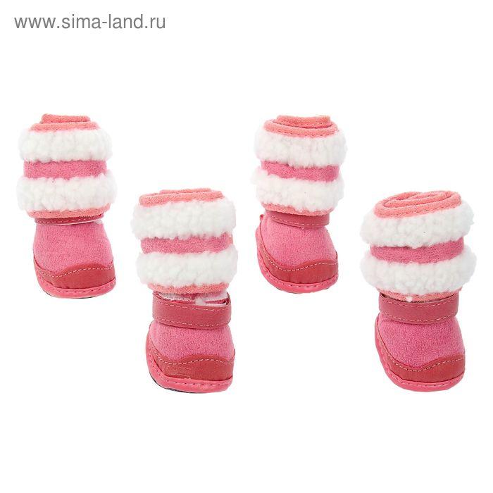 "Ботинки ""Унты"", набор 4 шт, размер 2 (подошва 5 х 3,8 см), розовые"