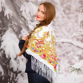 """Платок многоцветный с бахромой Этель """"Новогодние забавы"""", размер 92х92 см, принт льняной"""