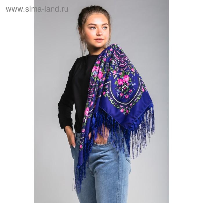 """Платок многоцветный с бахромой Этель """"Новогодние забавы"""", размер 92х92 см, цвет синий, принт персидский"""