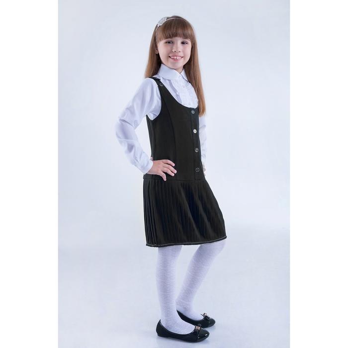 Сарафан для девочек, рост 164 см, возраст 14 лет, цвет серый