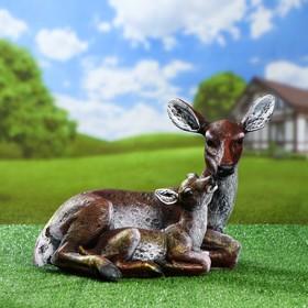 """Садовая фигура """"Олень с олененком"""", коричневый цвет, 31 см, микс"""