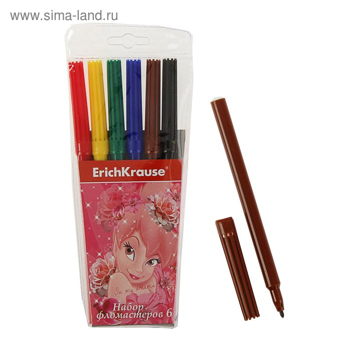 Фломастеры 6 цветов Tink Pink, EK 39680