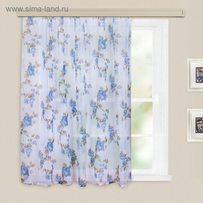 Штора вуаль-печать, принт МИКС, ширина 300 см, высота 260 см, цвет голубой