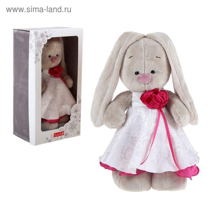 """Мягкая игрушка """"Зайка Ми"""" в белом платье с розой"""