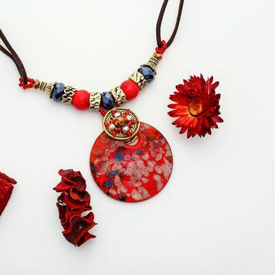 "Pendant sunrise ""Murano glass"" round, red, 45 cm"