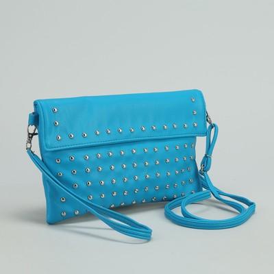 Сумка женская на клапане, 1 отдел, 1 наружный карман, голубая