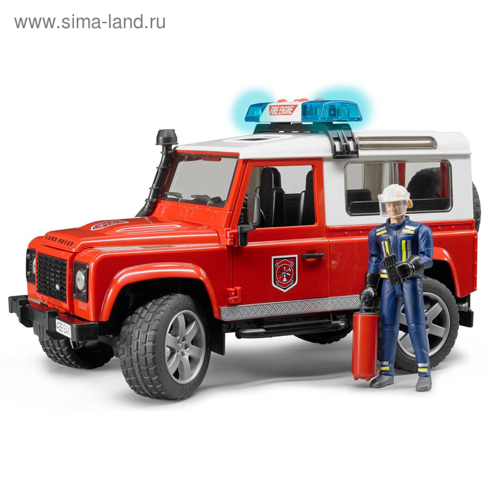 """Внедорожник Land Rover Defender Station Wagon """"Пожарный"""" с фигуркой"""