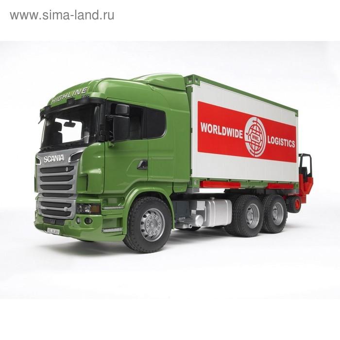 Фургон Scania, с погрузчиком и паллетами