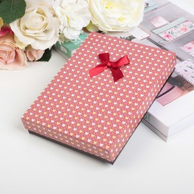 "Коробка подарочная ""Сердца"" 16 х 12 х 3 см, цвет красный в Донецке"