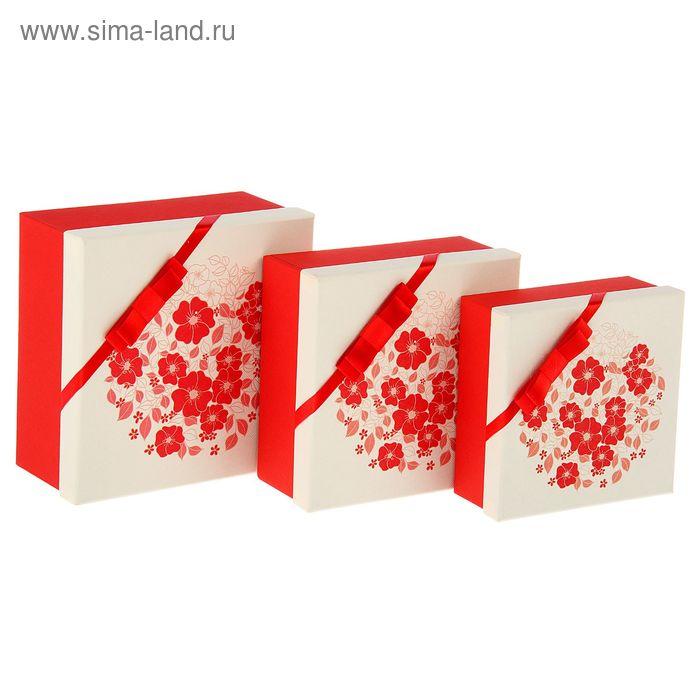 """Набор коробок 3в1 квадрат """"Цветы"""" (19,5*19,5*9,5/17,5*17,5*8/15,5*15,5*6,5 см)"""
