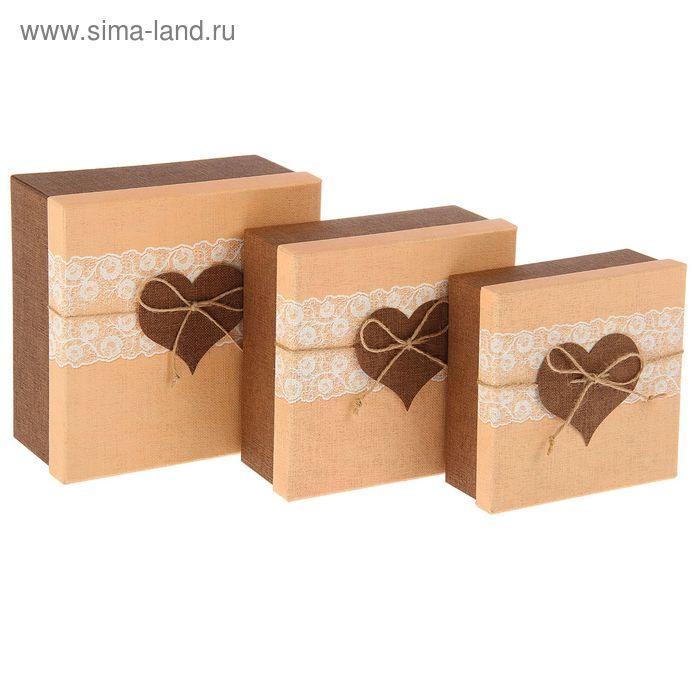 """Набор коробок 3в1 квадрат """"Сердце"""" (19,5*19,5*9,5/17,5*17,5*8/15,5*15,5*6,5 см)"""