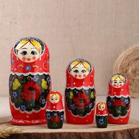 Матрёшка «Цветочная», красный платок, 5 кукольная, 17 см
