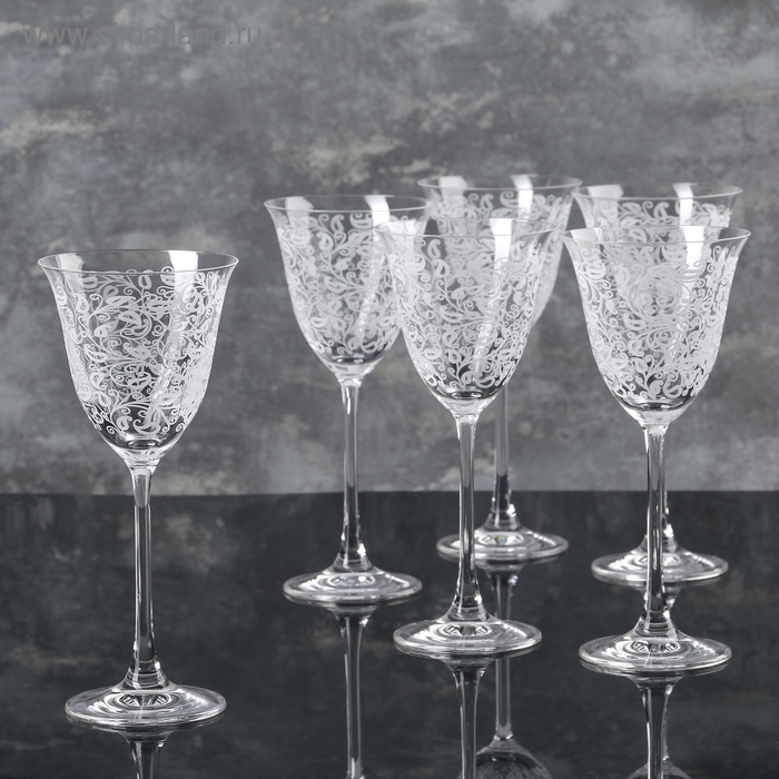 "Набор бокалов для вина 190 мл ""Флора. Белое кружево"", 6 шт"