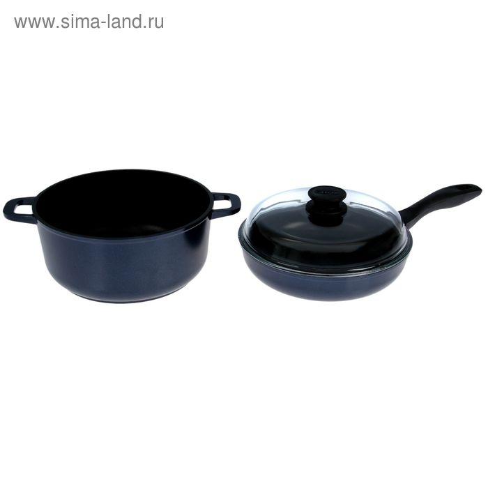 """Набор посуды """"Индиго"""": сковорода 26 см, кастрюля 5 л со стеклянной крышкой"""