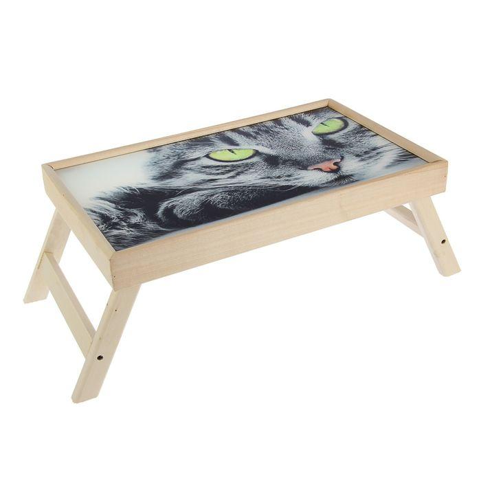 """Столик для завтрака """"Серьёзный Кот"""" стеклянная поверхность"""