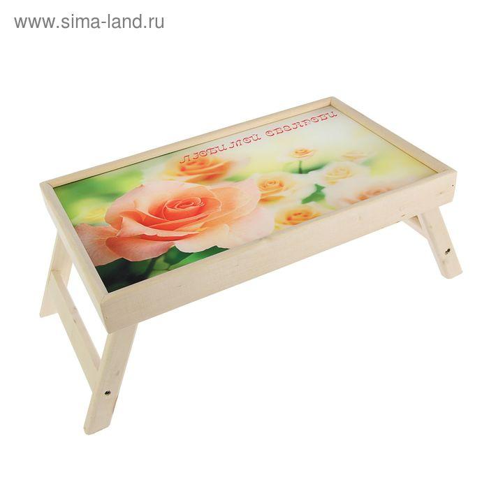 """Столик для завтрака """"Розы"""" стеклянная поверхность"""