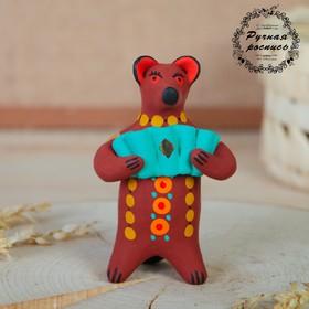 """Дымковская игрушка """"Медведь с цветком, с петухом, с гармонью"""", 11 см,  микс"""