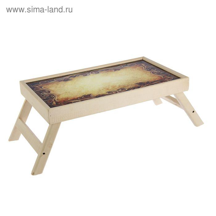 """Столик для завтрака """"Дерево резное"""" стеклянная поверхность"""