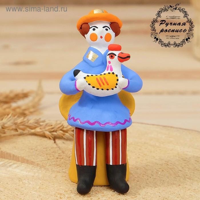 """Дымковская игрушка """"Мужик сидячий с петухом"""" 11 см микс"""