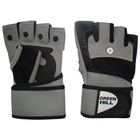 Перчатки тяжелоатлетические, велосипедные, размер M, цвет черный/серый