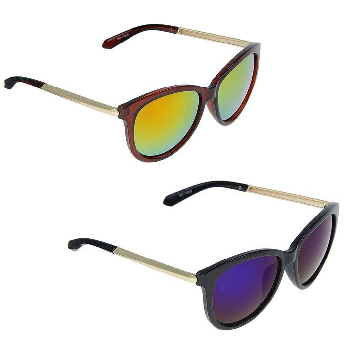Очки солнцезащитные овальные, дужки под золото, оправа микс