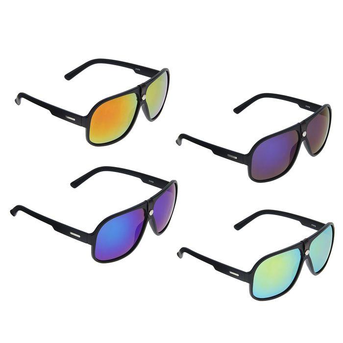 Очки солнцезащитные спортивные, оправа чёрная, по центру кнопка, дужки — вставка, линзы радужные