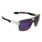 Очки солнцезащитные спортивные, оправа белая, дужки чёрные, линзы синие