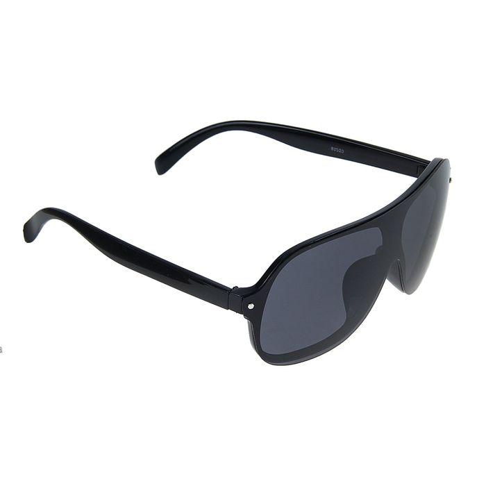 Очки солнцезащитные спортивные, оправа чёрная, линзы единая, чёрная