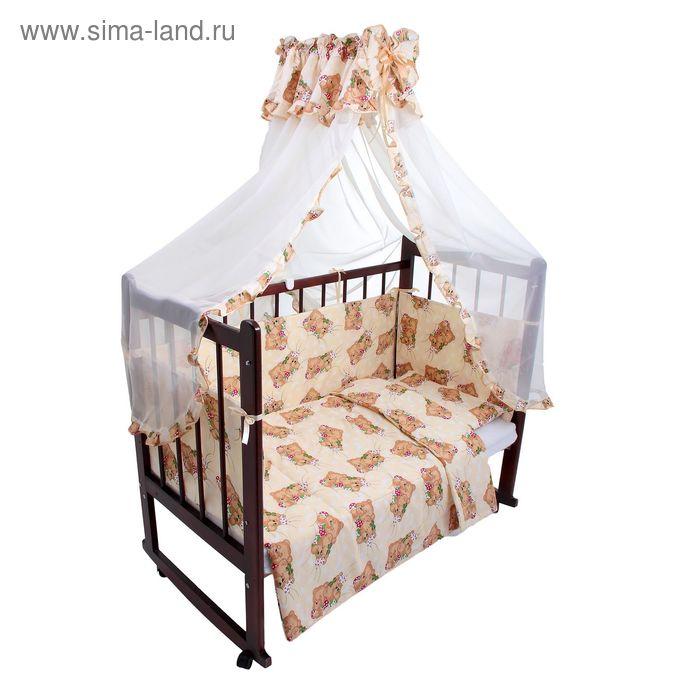 """Комплект в кроватку """"Спящие мишки"""" (4 предмета), цвет бежевый (арт. 1545)"""