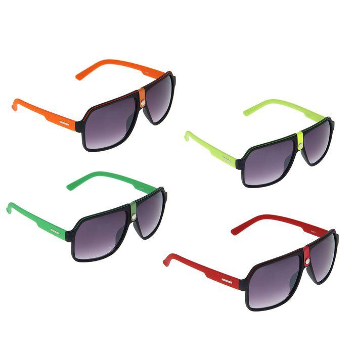 Очки солнцезащитные «Спорт» с кнопкой, оправа чёрная, линзы фиолетовые, дужки микс
