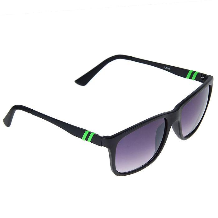Очки солнцезащитные Square, оправа чёрная, дужки — зелёные полосы, линзы градиент