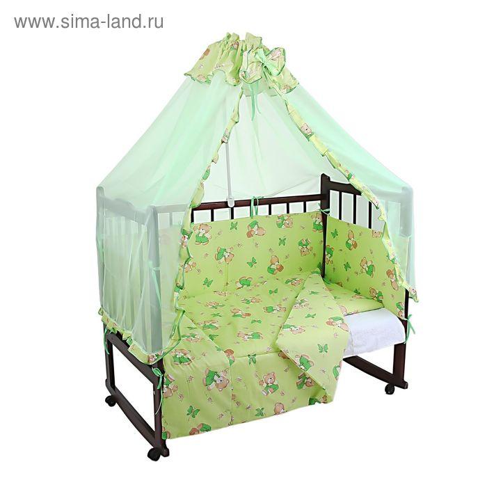 """Комплект в кроватку """"Мишки с мёдом"""" (4 предмета), цвет зелёный (арт. 1525)"""