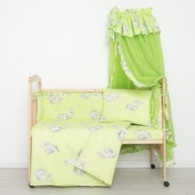 """Комплект в кроватку """"Слонята"""" (5 предметов), цвет зелёный (арт. 51/1)"""