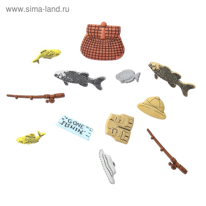 """Пуговицы """"Рыбалка"""", 12 шт."""