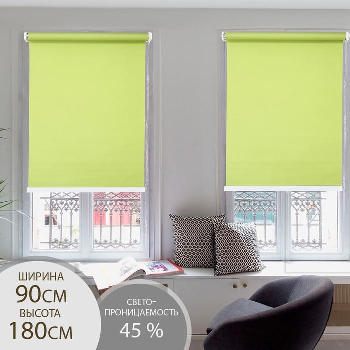 Штора рулонная 90х180 см, цвет зеленый