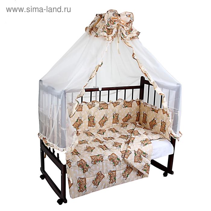 """Комплект в кроватку """"Спящие мишки"""" (4 предмета), цвет бежевый (арт. 1555)"""