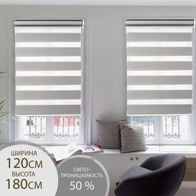 Штора рулонная «День-Ночь», 120×180 см (с учётом креплений 3,5 см), цвет серый