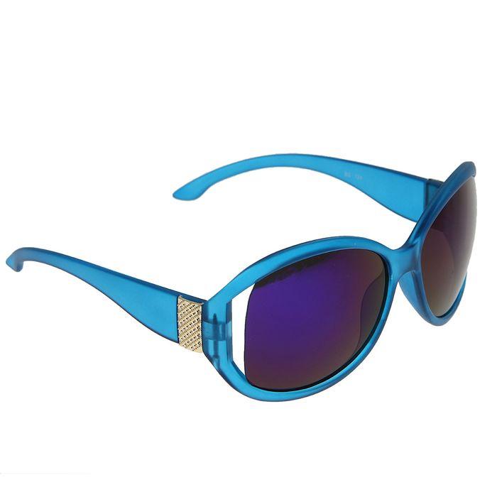 Очки солнцезащитные «Майами», оправа синяя с золотистыми вставками, линзы фиолетовые