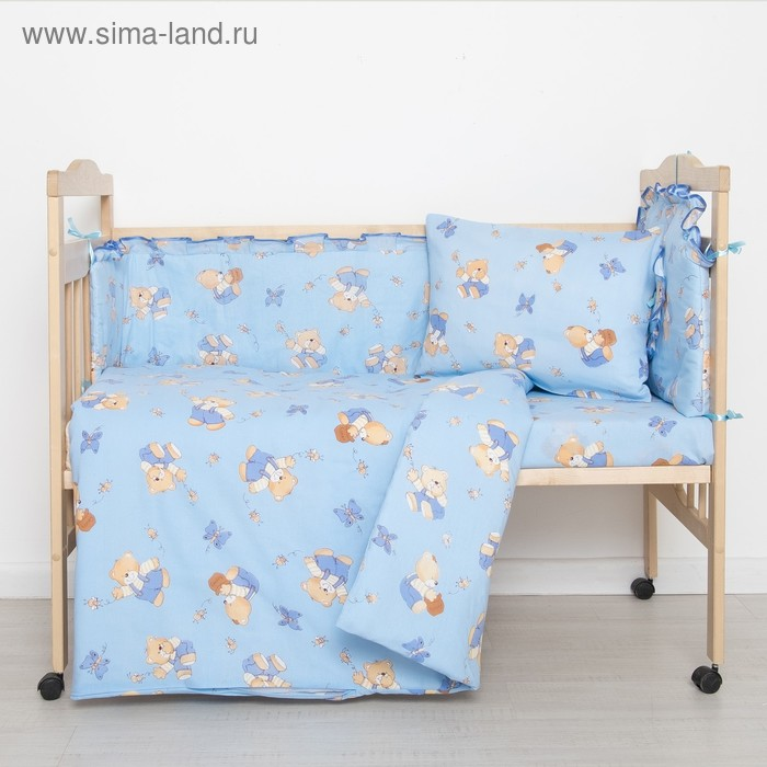 """Комплект """"Мишки с медом"""" (6 предметов), цвет голубой 61/1"""
