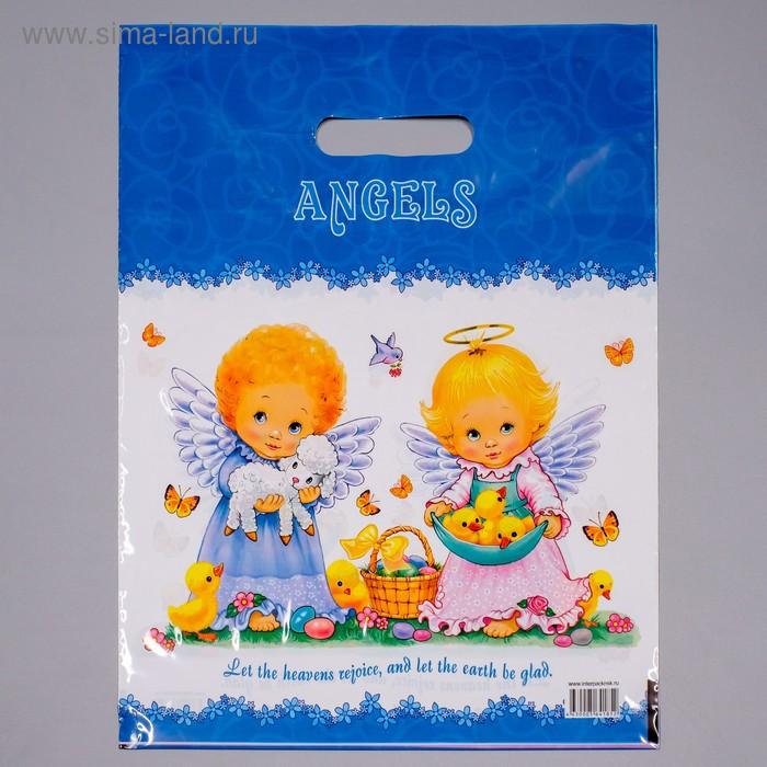 """Пакет """"Ангелочки"""", полиэтиленовый с вырубной ручкой, 31х40 см, 60 мкм"""