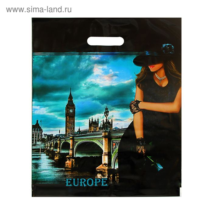 """Пакет """"Европа"""", полиэтиленовый с вырубной ручкой, 38х47 см, 60 мкм"""