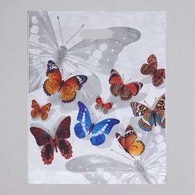 """Пакет """"Бабочки"""", полиэтиленовый с вырубной ручкой, 40 х 47 см, 45 мкм"""