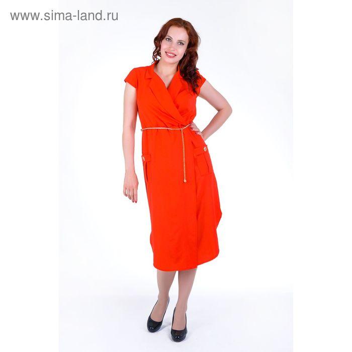 Платье женское, размер 50, рост 168, цвет арбуз (арт. 17251 С+)