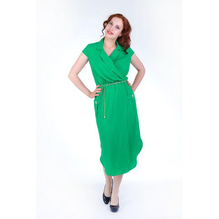 Платье с запахом женское, цвет зелёный, размер 46, рост 168