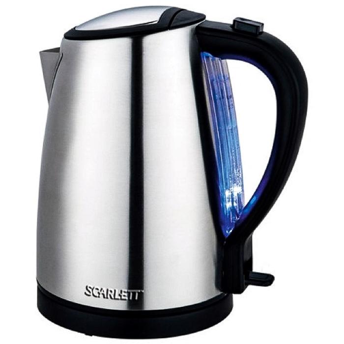 Чайник электрический Scarlett SC-EK21S27, 1800 Вт, 1.7 л, металл, подсветка, серебристый