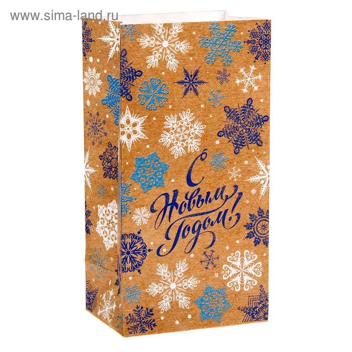 """Пакет подарочный без ручек Снежинки """"С Новым годом!"""""""