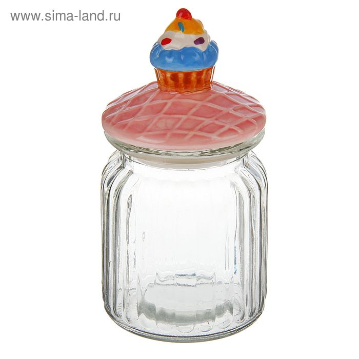 "Банка для сыпучих 200 мл ""Пирожное"", 8х15 см"