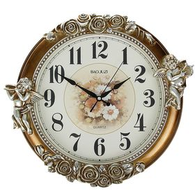 """Часы настенные, серия: Интерьер, """"Купидоны"""", под бронзу, 45х42х5 см"""